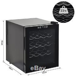 16 Bottle Wine Cooler Glass Door LED Drinks Fridge Tabletop Compact Refrigerator