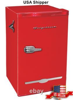 3.2 Cu Ft Retro Style Mini Fridge Compact Small Office Dorm Refrigerator Cooler