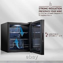 46L Wine Cooler Glass Door Small Drink Soda Beer Red/White Wine Champag Fridge