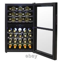 Baridi 43 Bottle Dual Zone Drinks Wine Cooler, Fridge, Touch Screen, LED, Black