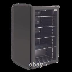 ElectriQ 128 Can Capacity Drinks Fridge Black With Glass Front