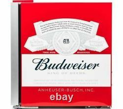 HUSKY Budweiser Drinks Cooler Bud Mini Beer Fridge Table Top Countertop Red