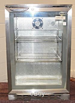 HUSKY Under Bar Cooler Grey Stainless Steel Single Door Display Fridge Bottle