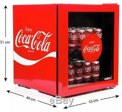 Husky Coca Cola Table Top Fridge 46 litre Drinks Cooler Silver Coke Beer Wine