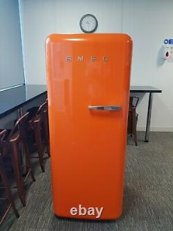 Orange Smeg Fridge Freezer left hand handle