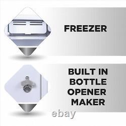 Retro Mini Fridge 3.2 Cu. Ft. Compact Office Dorm Refrigerator Freezer Moonbeam