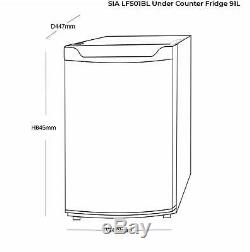 SIA Freestanding Black Undercounter Larder Fridge & Freezer A+ Energy Rating