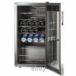 SMAD 98 Litre 35 Bottles Wine Fridge Beverage Cooler Stainless Steel Glass Door