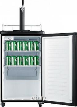 Single Tap Kegerator Fridge 4.9 cu. Ft, Black Barrel Draft Beer Keg Dispenser