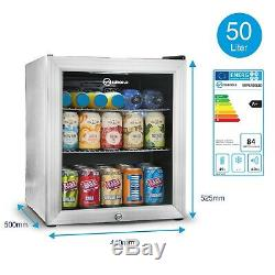 Subcold Super 50 LED Silver Mini Fridge Table Top Beer Fridge A+ Rated