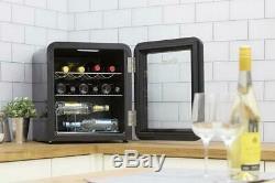 Swan Black Counter Top Chiller Fridge Beer Cans Bottles Wine Cooler SR16210BN