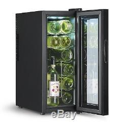 Wine Fridge Drinks 12 Bottle EEK a LED Mini bar Melina Cabinet Rack Md